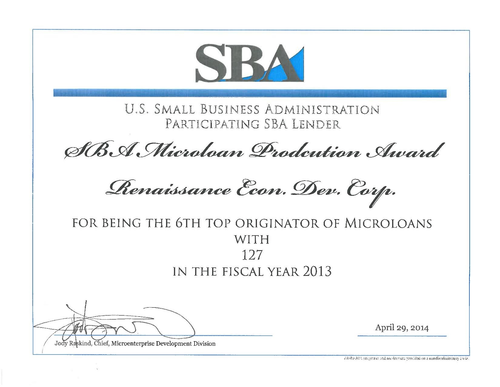 Renaissance Recognized as #6 Producer of Micro Loans by SBA
