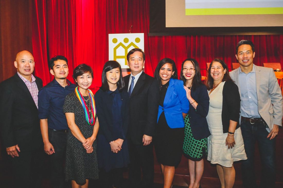 From L to R: Nelson Louis, Ong Family Foundation, Cris Mercado, GrantAnswers, Clara Yoon, API Project, Emma Yang, Timeless, Chris Kui, Asian Americans for Equality, Alexandra Ruiz, Immigrant Advancement Matters, Gloria S. Chan, CoachDiversity Institute, Wendy Takahisa, AAFE Board President, Richard Lui, MSNBC.