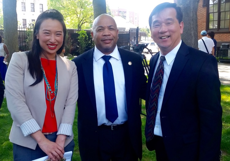 Assembly member Yuh-Line Niou, Assembly Speaker Carl Heastie, AAFE Executive Director Chris Kui.