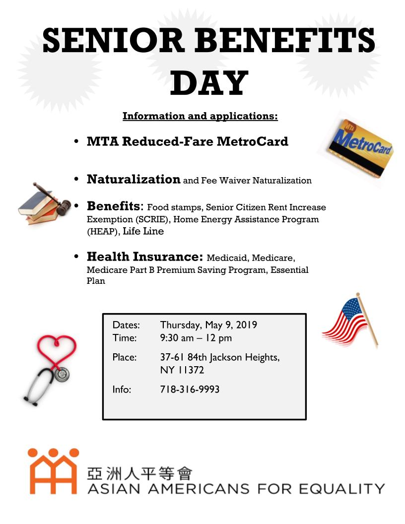 "Senior Benefits Day"" in Jackson Heights May 9 